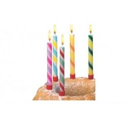 """SUSY CARD blister de 6 bougies d'anniversaire """"canne de bonbons"""" en cire"""