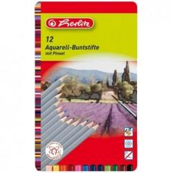HERLITZ étui métallique de 12 crayons aquarellable, forme hexagonale