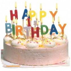 "SUSY CARD Bougie pour gâteau ""HAPPY BIRTHDAY"" lettre en cire"