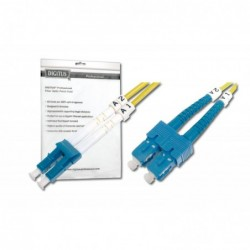 DIGITUS Câble Fibre Optique Duplex 9/125 OS1 SC LC Jaune 3 m