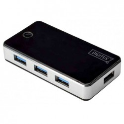 DIGITUS Hub USB 3.0 4 ports avec bloc d'alimentation Noir