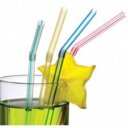 SUSY CARD Pqt de 50 pailles à boire flexible 21 cm Coloris assortis