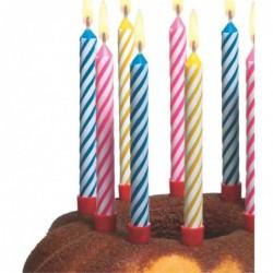SUSY CARD paquet de 12 bougies d'anniversaire Rayée H 65mm avec support