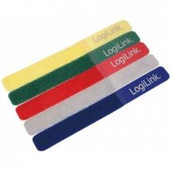 LOGILINK Attache-câbles scratch, 180x20mm, couleurs assorties