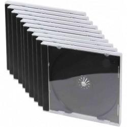 LOGILINK Pack 10 étuis CD vide Jewel Case transparent intérieur noire