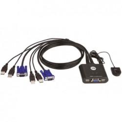 ATEN Mini switch KVM 2 ports VGA USB câbles int. Téléc.