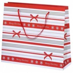 "SUSY CARD Sac cadeau de Noël ""noeuds bandes"" Grand 360x100x310 mm Pélliculé"