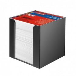 HERLITZ Boîtier plastique Noir 9 x 9 cm avec cube 700 feuilles Blanc