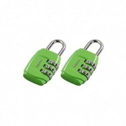 HAMA Lot de 2 cadenas à combinaison pour bagages 3 chiffres Vert
