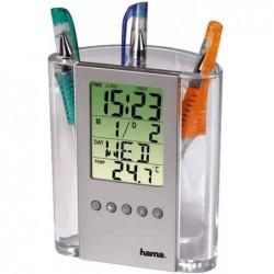 HAMA Thermomètre LCD et porte-crayons Cristal / Argent