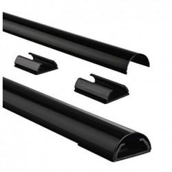 HAMA Conduite pour câbles en aluminium, mi-arrondie, noire