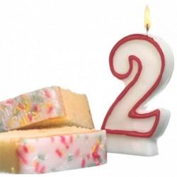 SUSY CARD Bougie D'anniversaire en cire H 85 mm chiffre N° 2