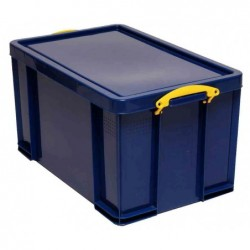 REALLY USE BOX Boîte  plastique 84 L opaque bleu, recyclé, couvercle amovible