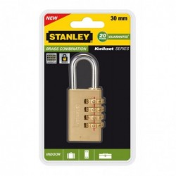 STANLEY Cadenas laiton KWIKSET à combinaison 4 chiffres 30 mm Or