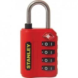 STANLEY Cadenas à combinaison 4 chiffres avec indicateur TSA 30 mm Rouge Vif