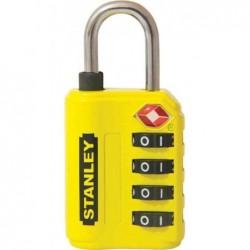 STANLEY Cadenas à combinaison 4 chiffres avec indicateur TSA 30 mm Jaune