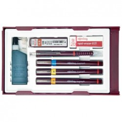 """ROTRING Kit Isograph """"College Set"""" 3 Stylos + encre + gomme + Porte-mines + mines"""