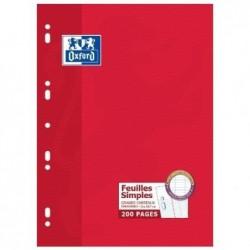OXFORD paquet de 100 Feuillets mobiles 210 x 297 mm Sèyes 200 pages 90g