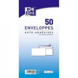 OXFORD Pqt de 50 Enveloppe auto-adhésive 110x220 80g Blanc