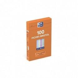 OXFORD Pqt de 100 fiches bristol 125 x 200mm Quadrillée 5x5 Assorties