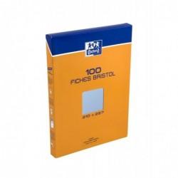 OXFORD Étui 100 fiches bristol 210 g, Blanc 5 x 5, DIN A5