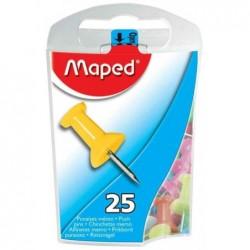 MAPED Boite de 25 punaises mémo, couleurs assorties