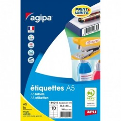 AGIPA Etui A5 ( 16F ) de 160 étiquettes multi-usage Permanentes 38,5x65 mm Blanc