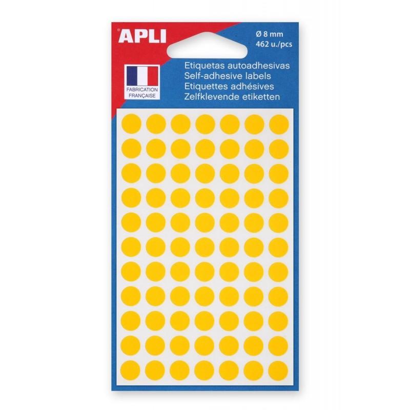 AGIPA Sachet de 462 étiquettes Gommettes de signalisation Rondes 8 mm Jaune