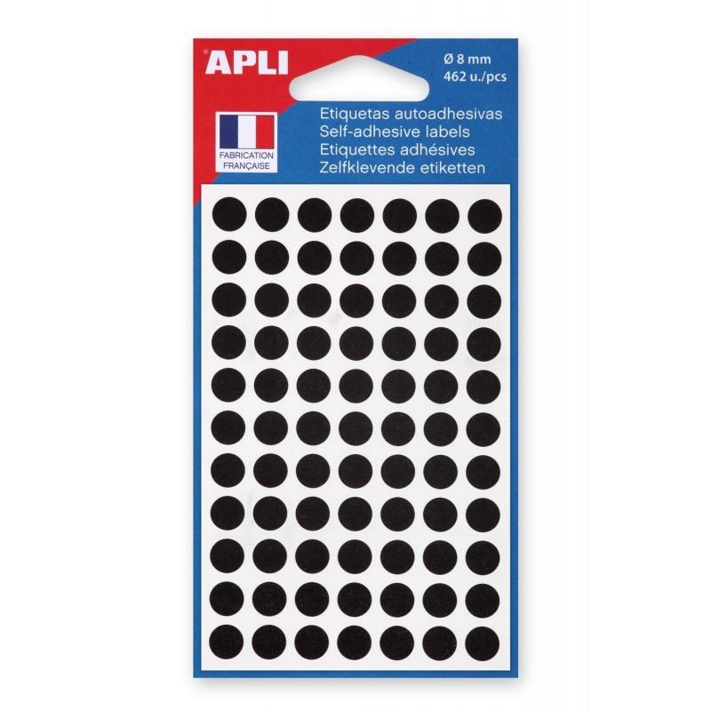 AGIPA Sachet de 462 étiquettes Gommettes de signalisation Rondes 8 mm Noir