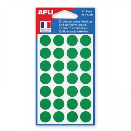 AGIPA Sachet de 168 étiquettes Gommettes de signalisation Rondes 15 mm Vert