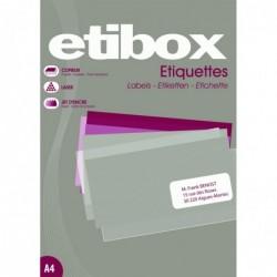 ETIBOX Boite 100F A4 2400 Etiquettes Cop/Las/Jet Coins droits 70 x37 mm Blanc