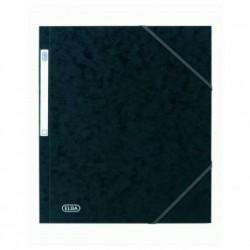 ELBA Chemise 3 rabats à élastiques Carte Eurofolio 5/10eme 24 x 32 cm Noir
