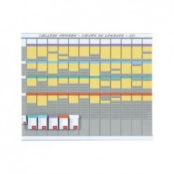 NOBO Kit planning annuel 13 colonnes 32 fentes inclus 5 étuis de 100 fiche T2 100 fiches T1