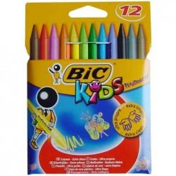 BIC Etui de 12 Craies de coloriage KIDS PLASTIDECOR 12 Couleurs