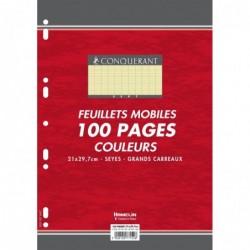 CONQUÉRANT Feuillets mobiles 21x29,7 cm 100 pages grands carreaux jaunes 80g