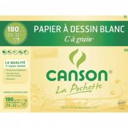 """CANSON pochette de 12 feuilles Papiers à dessin """"C"""" à grain 320 x 240 mm 180 g"""
