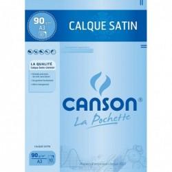 CANSON Pochette de 10 feuilles Papier calque Satin A3 90/95 g/m2