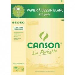 """CANSON Pochette 10 Feuilles Papier à dessin """"C"""" à grain A3 180 g Blanc"""