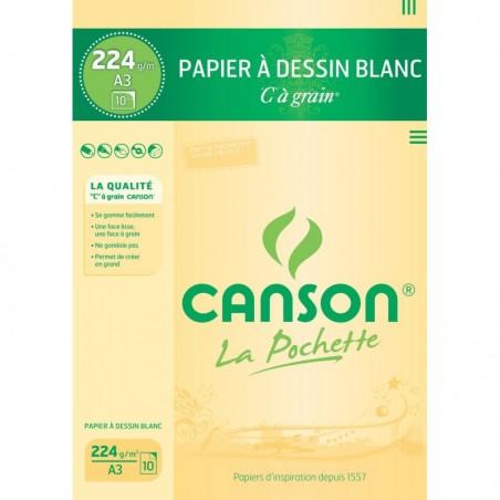 """CANSON Pochette de 10 Papier à dessin """"C"""" à grain A3 224 g Blanc"""