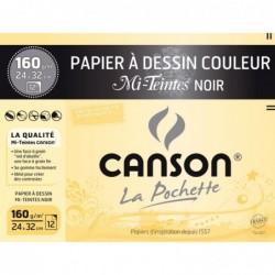 CANSON papier dessin Mi-Teintes 160g 320 x 240 mm Noir
