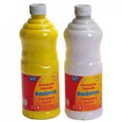 LEFRANC BOURGEOIS Pack 8 x 1 L Gouache liquide jaune, rouge, bleu, vert, marron, noir et 2 x blanc
