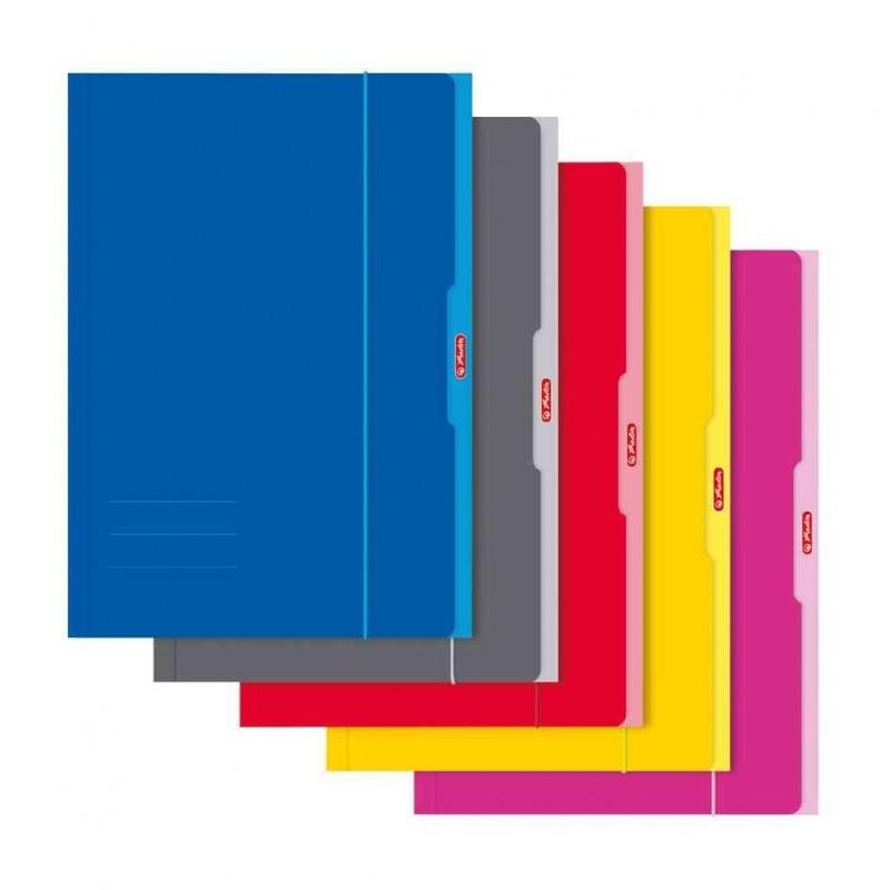 HERLITZ Chemise cartonnée brillant 3 rabats et élastiques A3 coloris assorti aléatoire