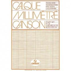CANSON bloc papier millimétré, format A4, extra transparent, 50F