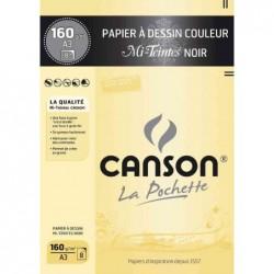 """CANSON Pochette 8 Feuilles Papier à dessin """"Mi-Teintes"""" A3 160g Noir"""