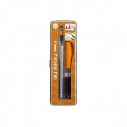 PILOT Coffret Stylo plume calligraphique Parallel Pen Corps Orange Pte Moyenne 2,4 mm
