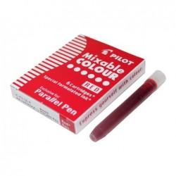 PILOT Boite de 6 Cartouches d'encre pour stylo Parallel Pen Rouge
