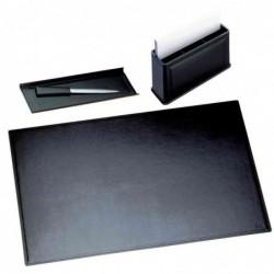 LÄUFER Garniture de bureau MONZA, 3 pièces, noir finition en fibres de cuir