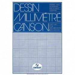 CANSON Bloc 50 Feuilles de papier millimétré A3 72 g Bleu