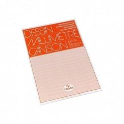 CANSON Bloc 50 feuilles de papier millimétré A3, 80 g Orange