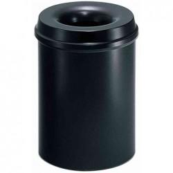 HELIT Corbeille à papier Acier Couvercle Anti-feu 15 L Diam 26 cm H 33,5 cm Noir
